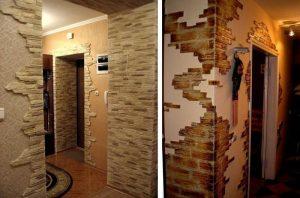 как отделать угол стены декоративным камнем вот мастак